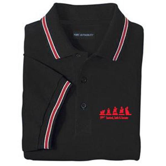 Picture of Black Polo w/Red Striped Trim