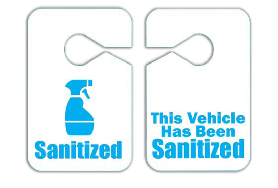 "Picture of ""Sanitized Vehicle"" Mirror Tags-Pk50    SHIPS IMMEDIATELY"